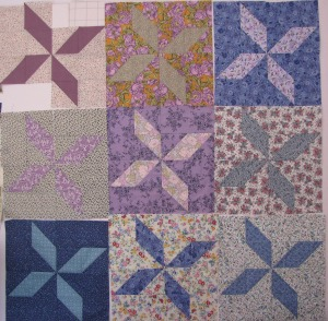 Amish Pinwheel blocks on the design wall